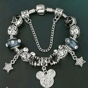 none Jewelry - Black and Silver Mickey and Minnie Charm Bracelet